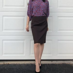 Brown Wool Pencil Skirt Size 0